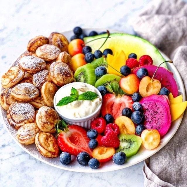 Pancake Puffs and Rainbow Fruit Platters