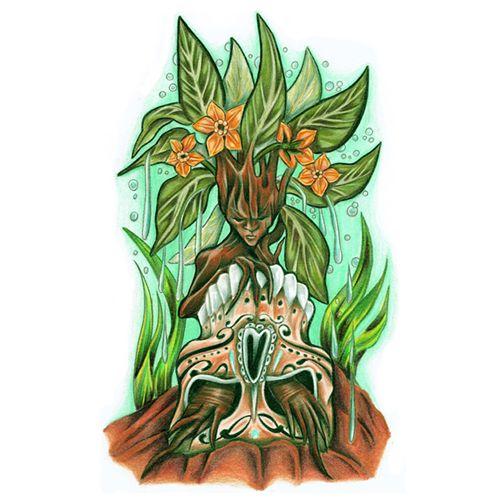 Mandrake Sugar Skull Print- Pagan Art- Botanical Inspired