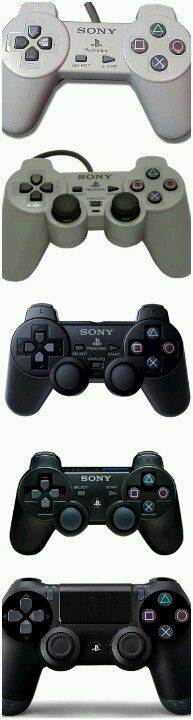 The evolution of the PlayStation controller.  Glad they never deviated from what works and stuck to pretty much the original design.