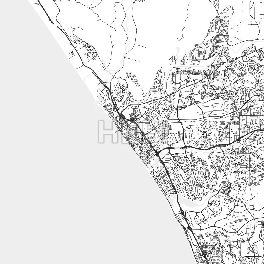 Oceanside California Area Map Light Ui ux