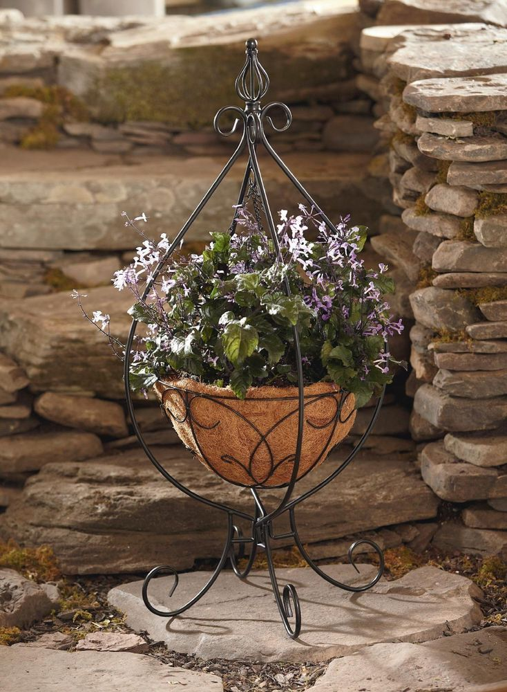 Plant Stand Hanging Basket Planter Metal Wrought Iron Porch Patio