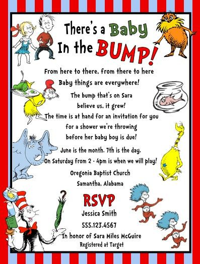 Dr Seuss Horton Thing 1 2 Cat Hat Baby Shower Party Invitations