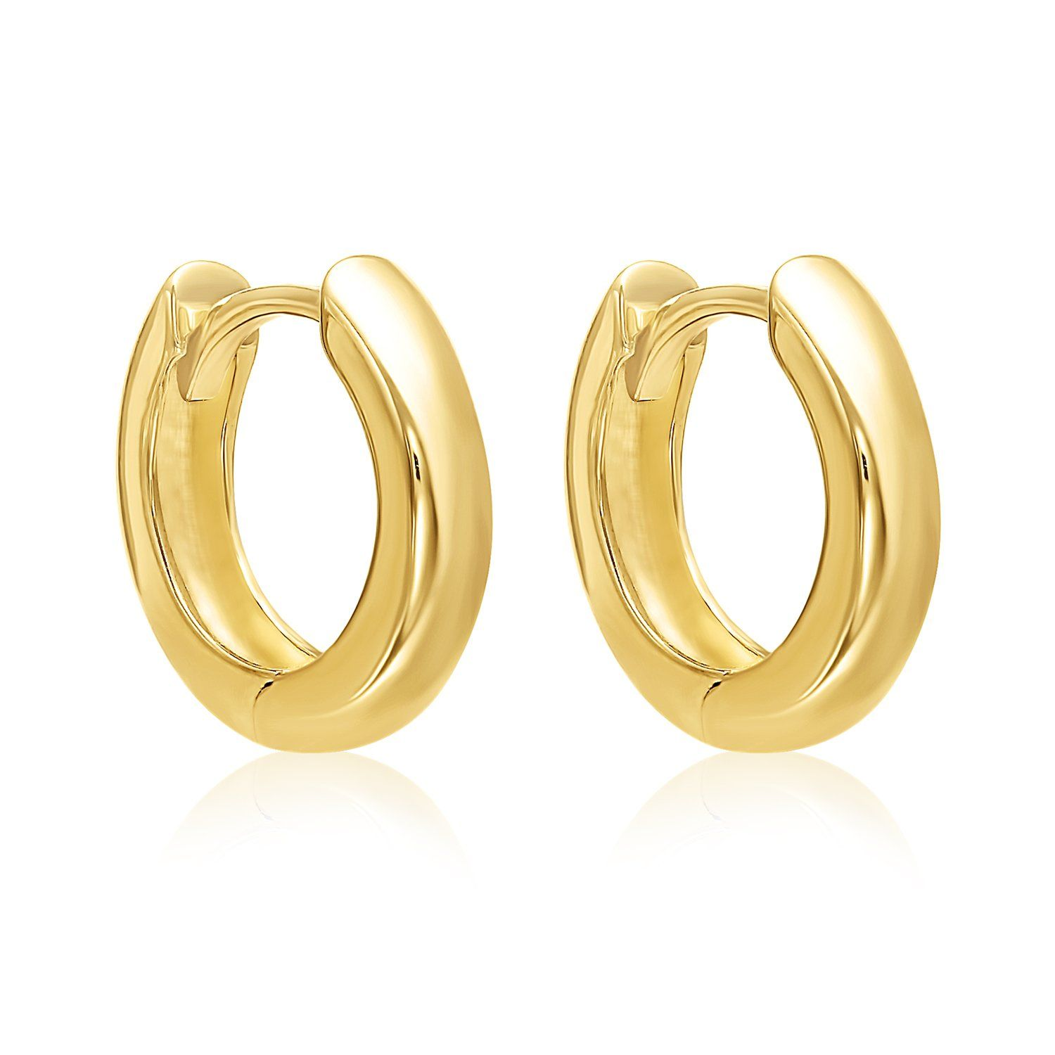 Mcs Jewelry 14 Karat Yellow Gold Small Wide Huggie Hoop Earrings (diameter:  13 Mm