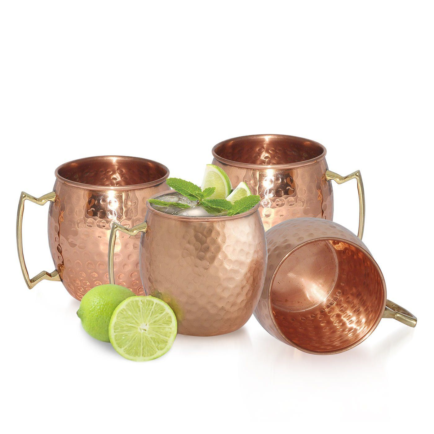 18oz HANDMADE IN INDIA SET OF 4 100/% COPPER HAMMERED MOSCOW MULE MUG NEW
