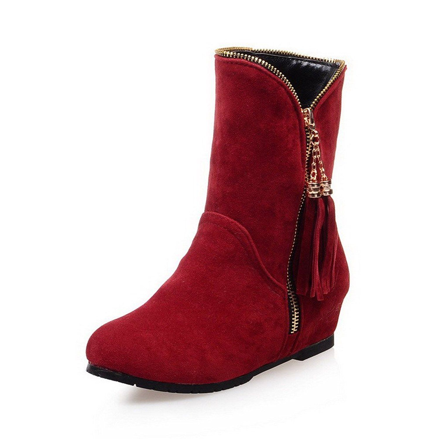Women's Zipper Imitated Suede Round Closed Toe Low Heels Solid Boots