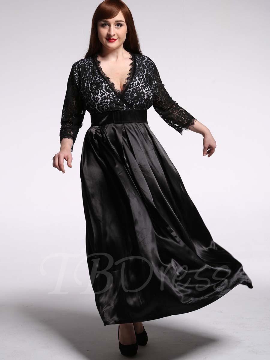 Plus size maxi dresses for summer wedding  Black Plus Size Lace Patchwork Womens Maxi Dress  Patchwork Maxi