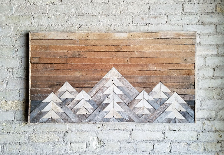 Reclaimed wood wall art wall decor or twin headboard lath geometric mountains