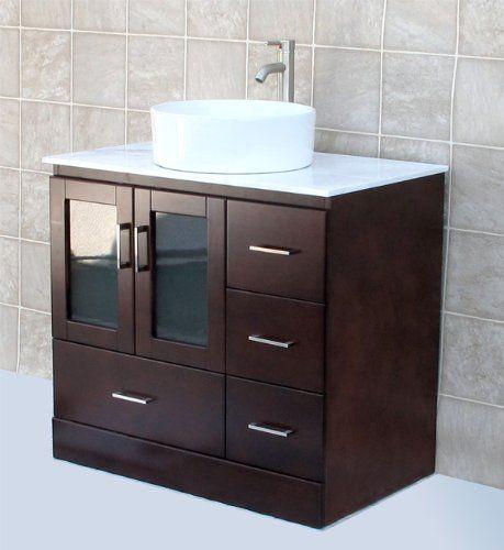 """Solid wood 36"""" Bathroom Vanity Cabinet Glass Vessel Sink ..."""