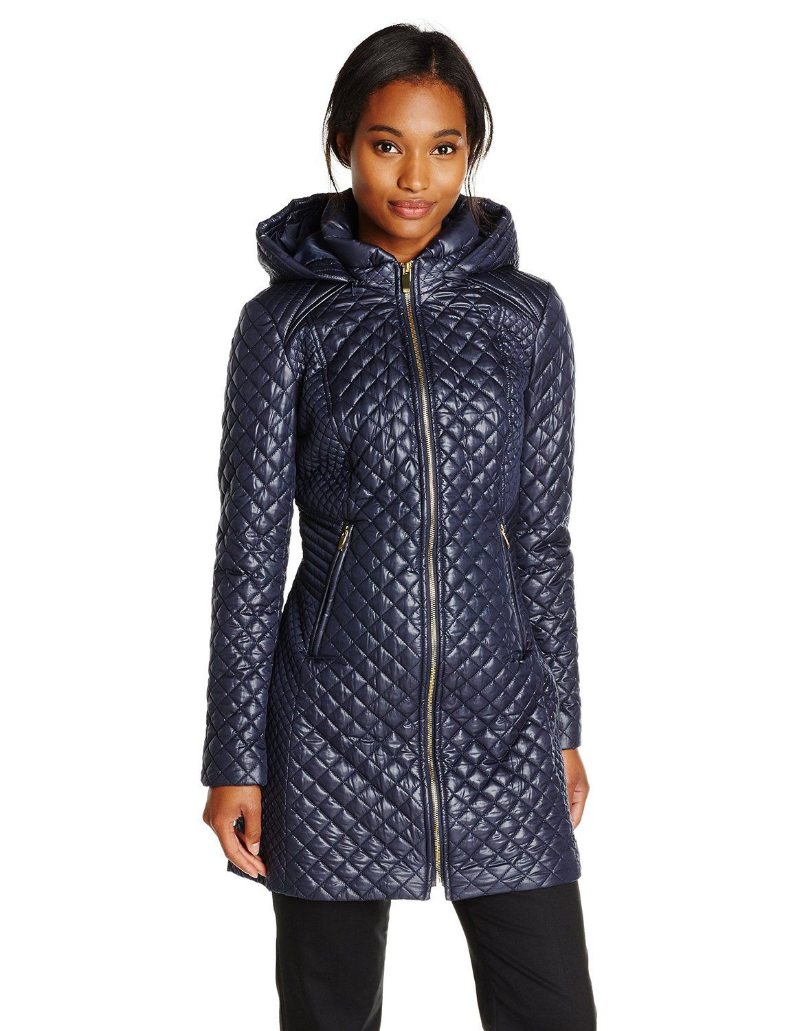 9c9a1d70665 Via Spiga Women s Lightweight Quilted Jacket with Hood at Amazon Women s  Coats Shop