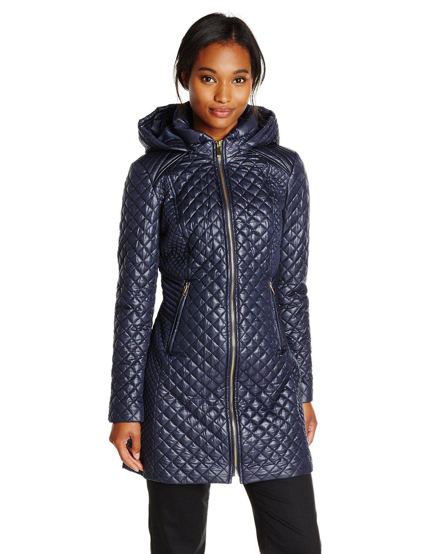 34cddd8563e Via Spiga Women s Lightweight Quilted Jacket with Hood at Amazon Women s  Coats Shop