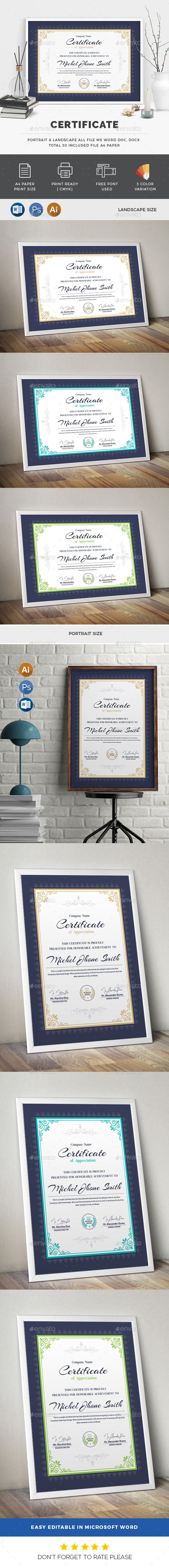 Certificate Template PSD, Vector EPS, AI, MS Word | Certificate ...