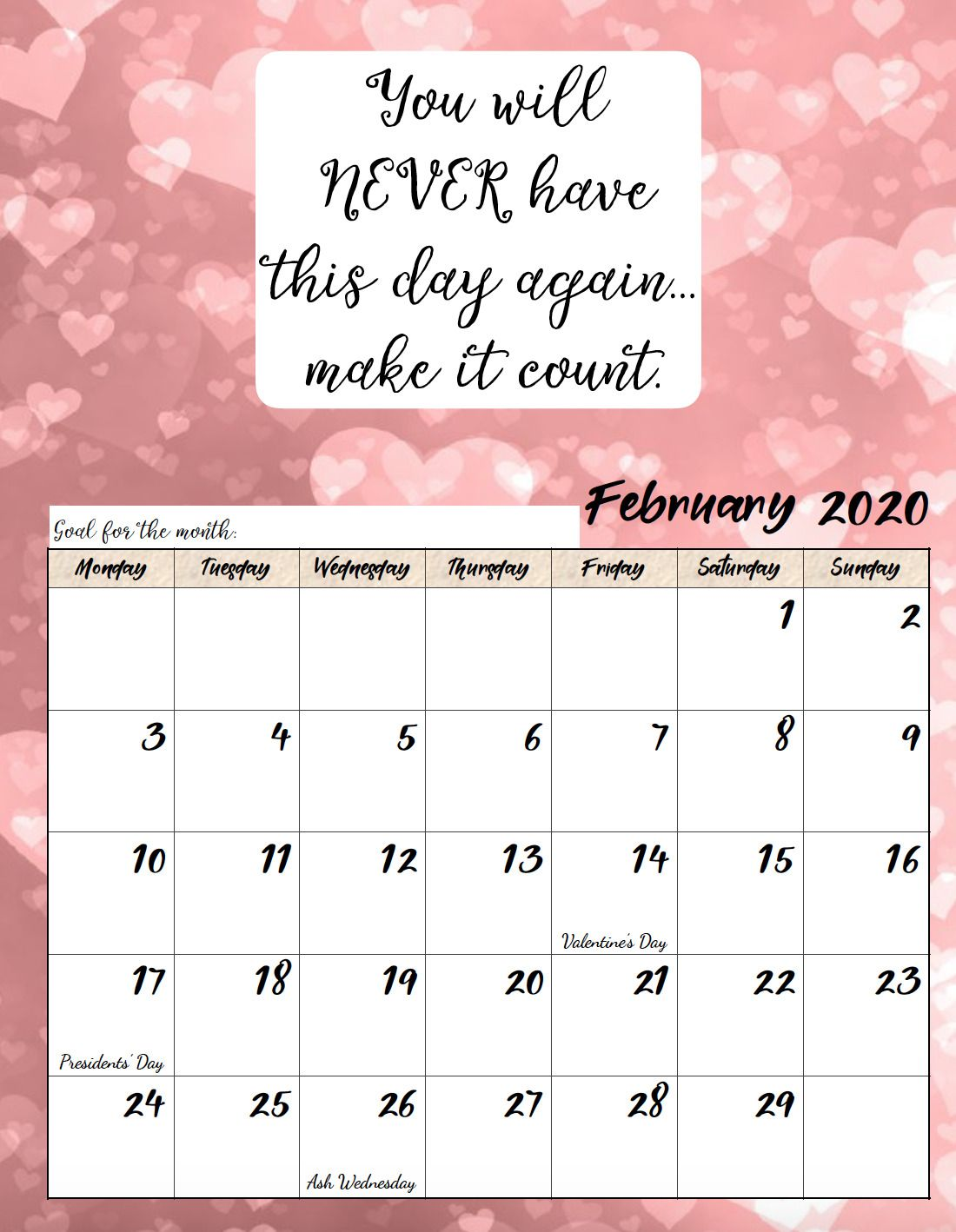 Free Printable 2020 Monday Start Monthly Motivational Calendars Space For Setting Goals Dif Calendar Quotes Calendar Printables Inspirational Quotes Calendar