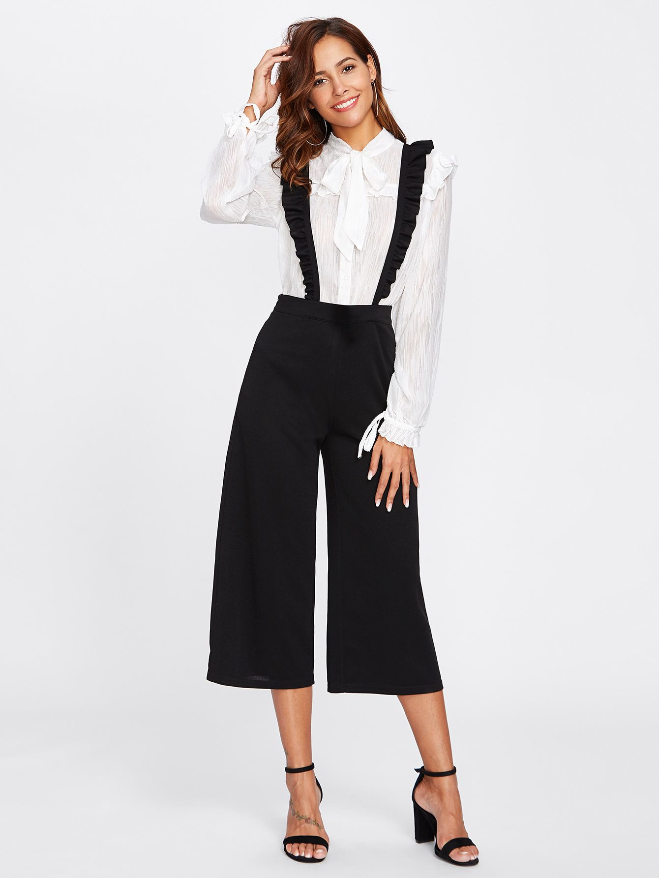 ac025e907832 Shop Crisscross Frill Strap Culotte Pants online. SheIn offers Crisscross  Frill Strap Culotte Pants   more to fit your fashionable needs.