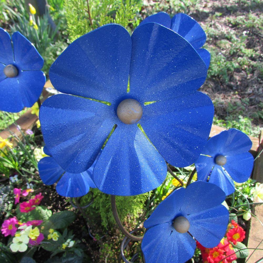 Poppy flower stake garden art poppy strong metal yard art flower - Handcrafted 2 Forget Me Not Flowers Blue Poppy Iron Garden Stake Sculpture Art