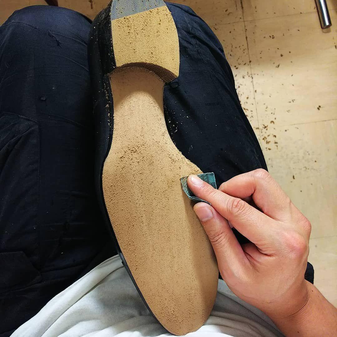 4c2b4c9b86f77 Sole sanding and ink. #bespokeshoes#eijimurata#maindor#shoemaking ...