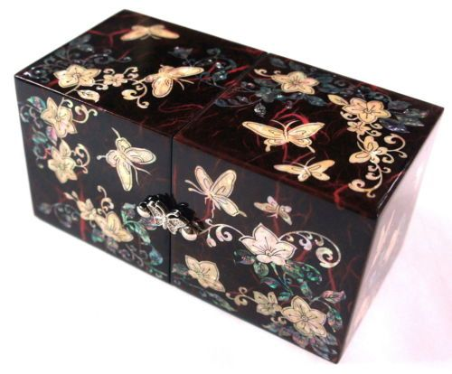 JEWELRY BOX TWIN CUBE KOREAN MOTHER OF PEARL INLAY LACQUER WARE