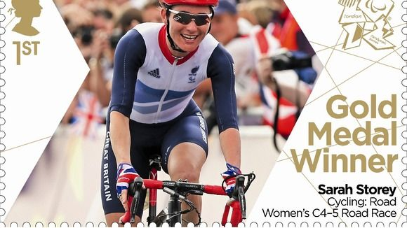Paralympics Gold Medal Winner stamp - Cycling: Road Women's C4-5 Road Race, Sarah Storey.