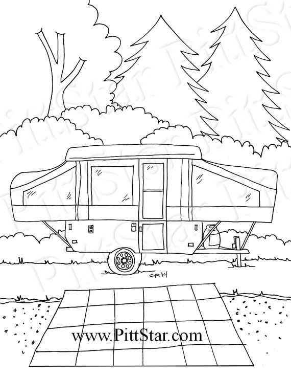 Instant Download Pop Up Travel Trailer In The Woods Etsy Coloring Pages Printable Coloring Pages Travel Trailer
