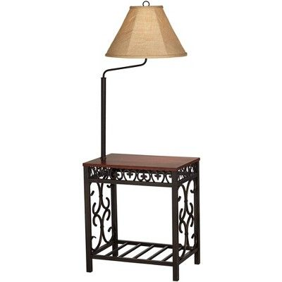 Regency Hill Traditional Floor Lamp End Table Swing Arm Wood Bronze Burlap Fabric Empire Shade For Living Room Reading Bedroom Traditional Floor Lamps Floor Lamp Floor Lamp Table