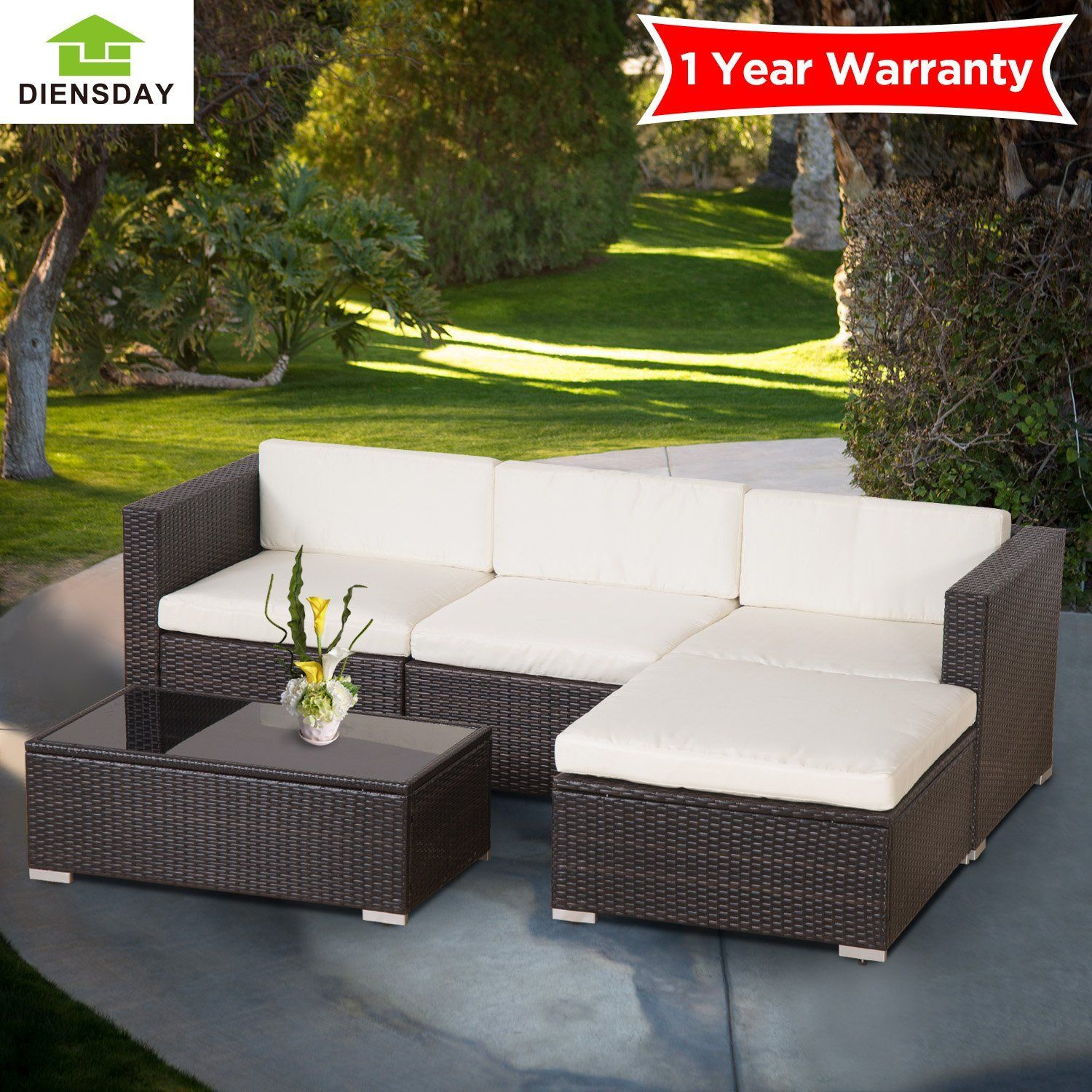 Amazon Diensday Deluxe Aluminum 5 Piece All Weather Cushioned