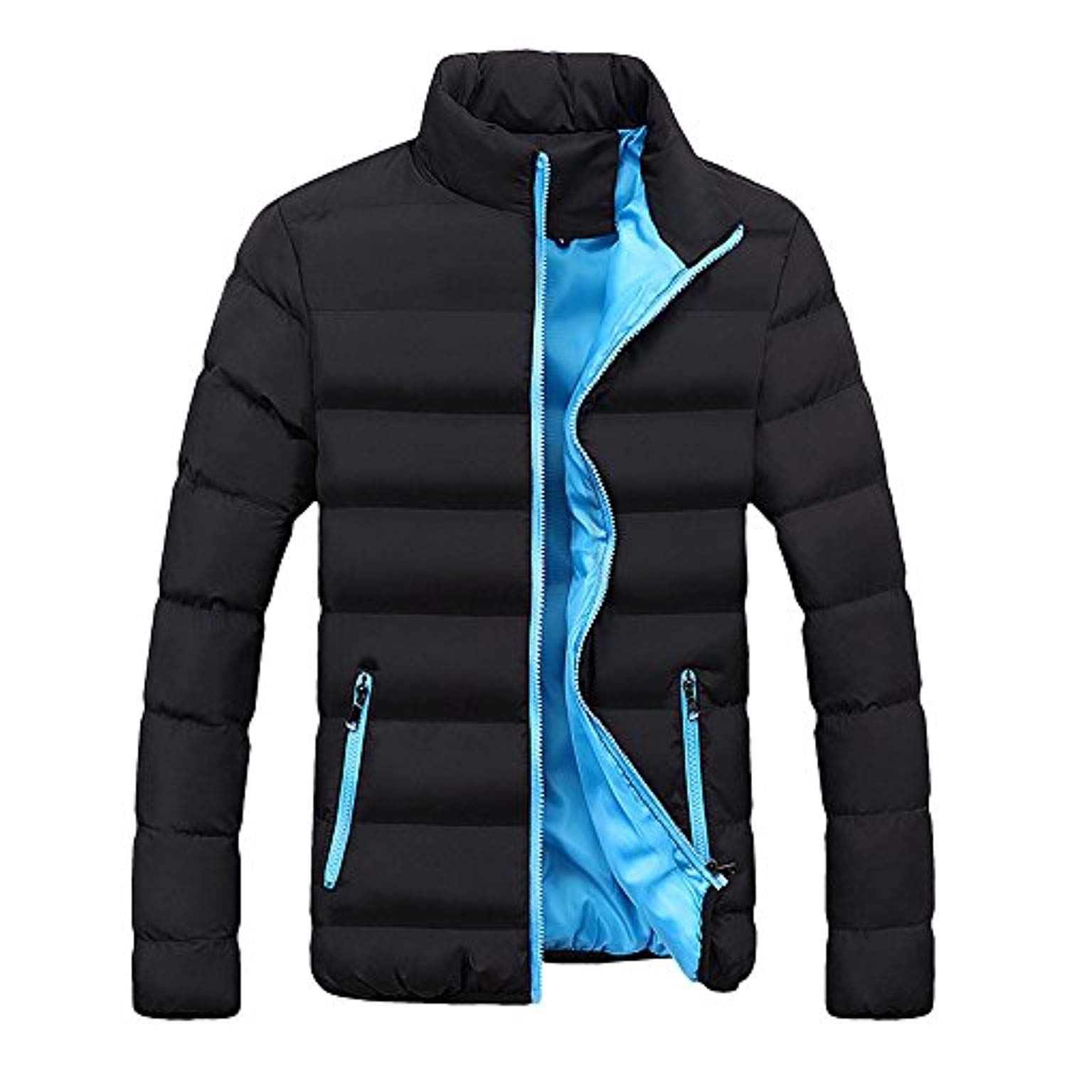 Men Winter Warm Cotton Padded Down Coat Slim Thick Outerwear Parka Casual Jacket