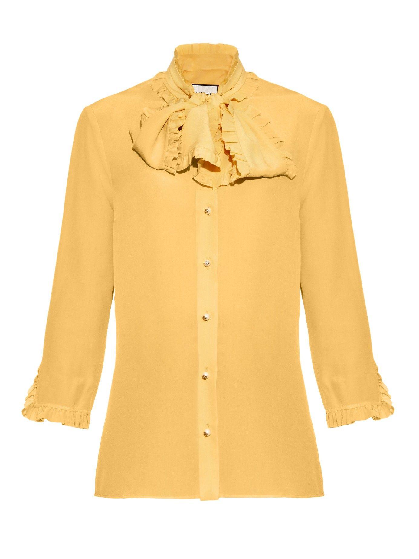 1f22dd53dda7c8 High-neck ruffled silk-crepe blouse | Gucci | Blouse in 2019 ...