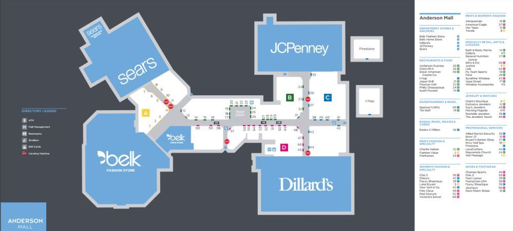 Anderson Mall Shopping Plan Mall Mall Stores Shopping Mall