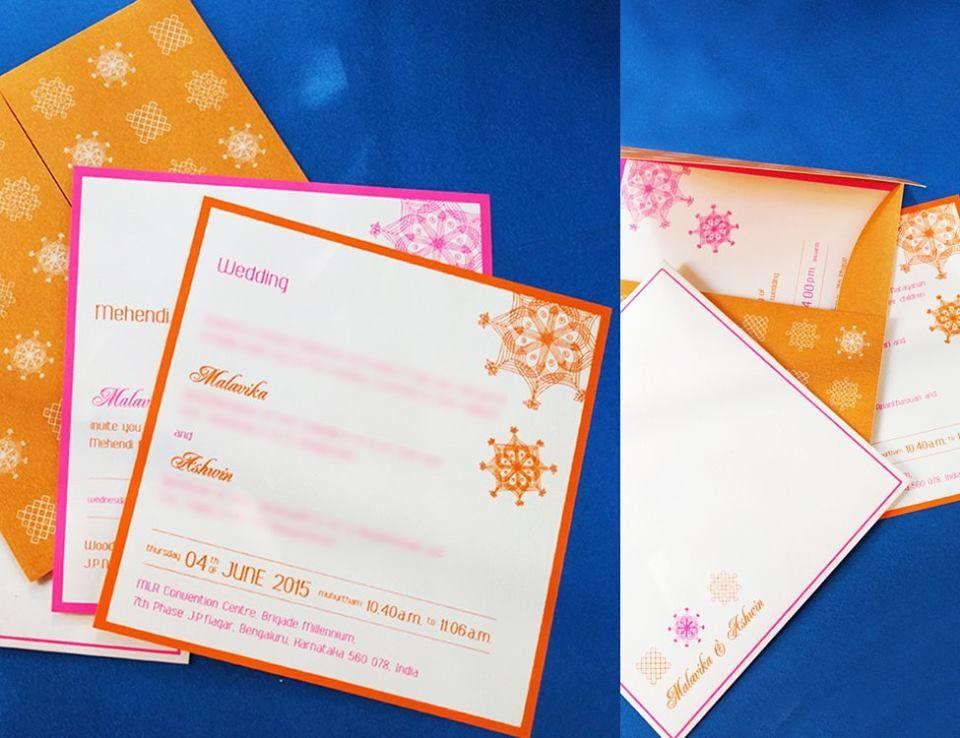wedding invitation cards mumbai india%0A Simple block print design invites for Malavika  u     Ashwin by Deepika  Nagarmath DN  Design  Mumbai