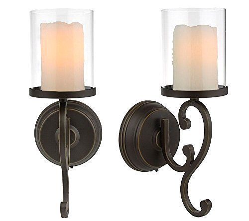 Battery Operated Wall Sconces With Flameless Wax Candles 2 Pack Gaden Yard New Candle Wall Sconces Battery Operated Wall Sconce Candle Sconces Dining Room