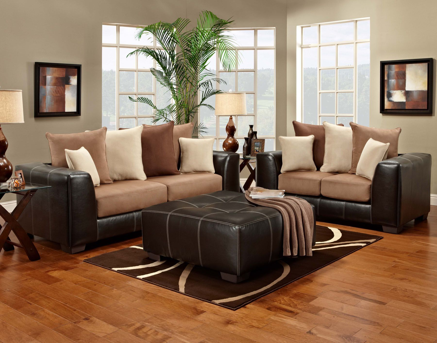 New Sea Rider Sofa And Loveseat Set In A Padded Suede With A