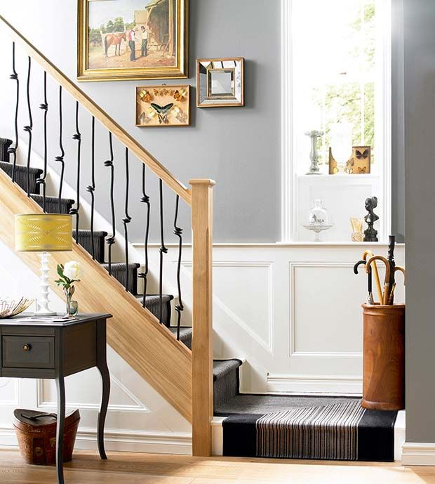 Wooden Stairs With Painted Stripes Updating Interior: Elementals Spiral Metal Spindles And Oak Handrail (With
