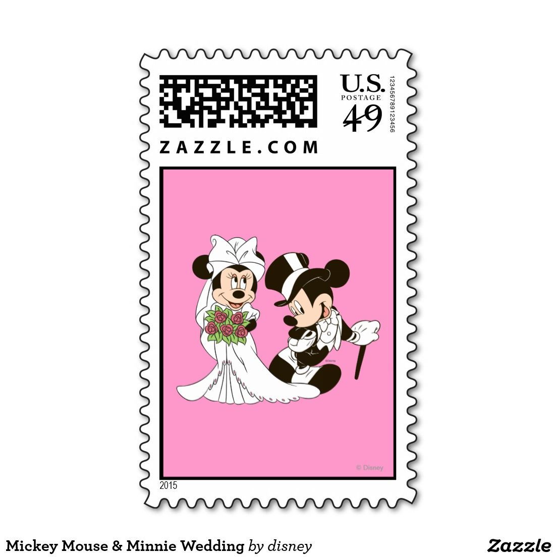 Mickey Mouse & Minnie Wedding Postage Stamp   Disney Official Art ...