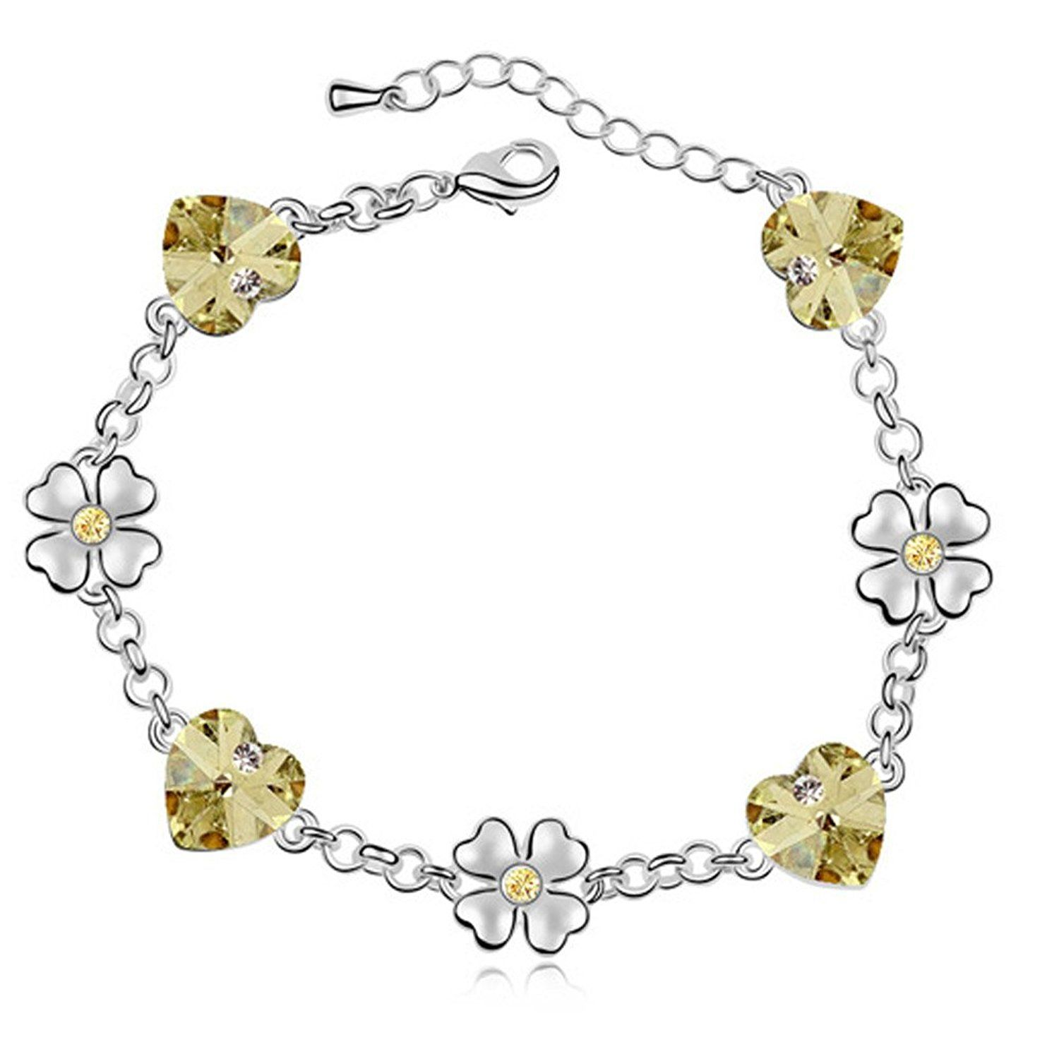 Latigerf flower heart bracelet white gold plated swarovski elements