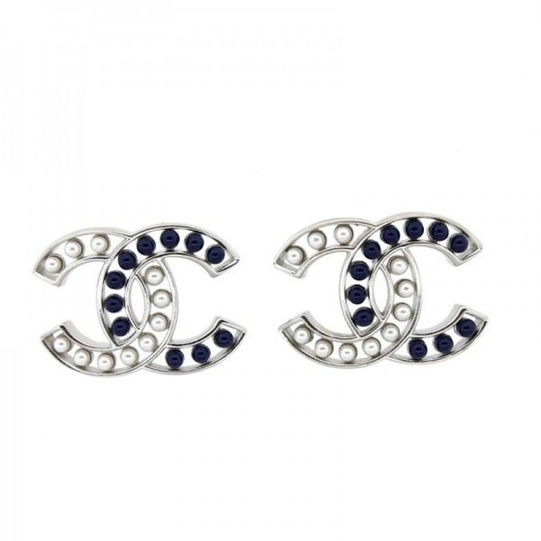 Pre-owned Chanel Small Pearl and Blue Stone Stud CC Earrings (850 CAD) ❤ liked on Polyvore featuring jewelry, earrings, blue stone jewelry, blue earrings, stone stud earrings, stone earrings and stud earrings