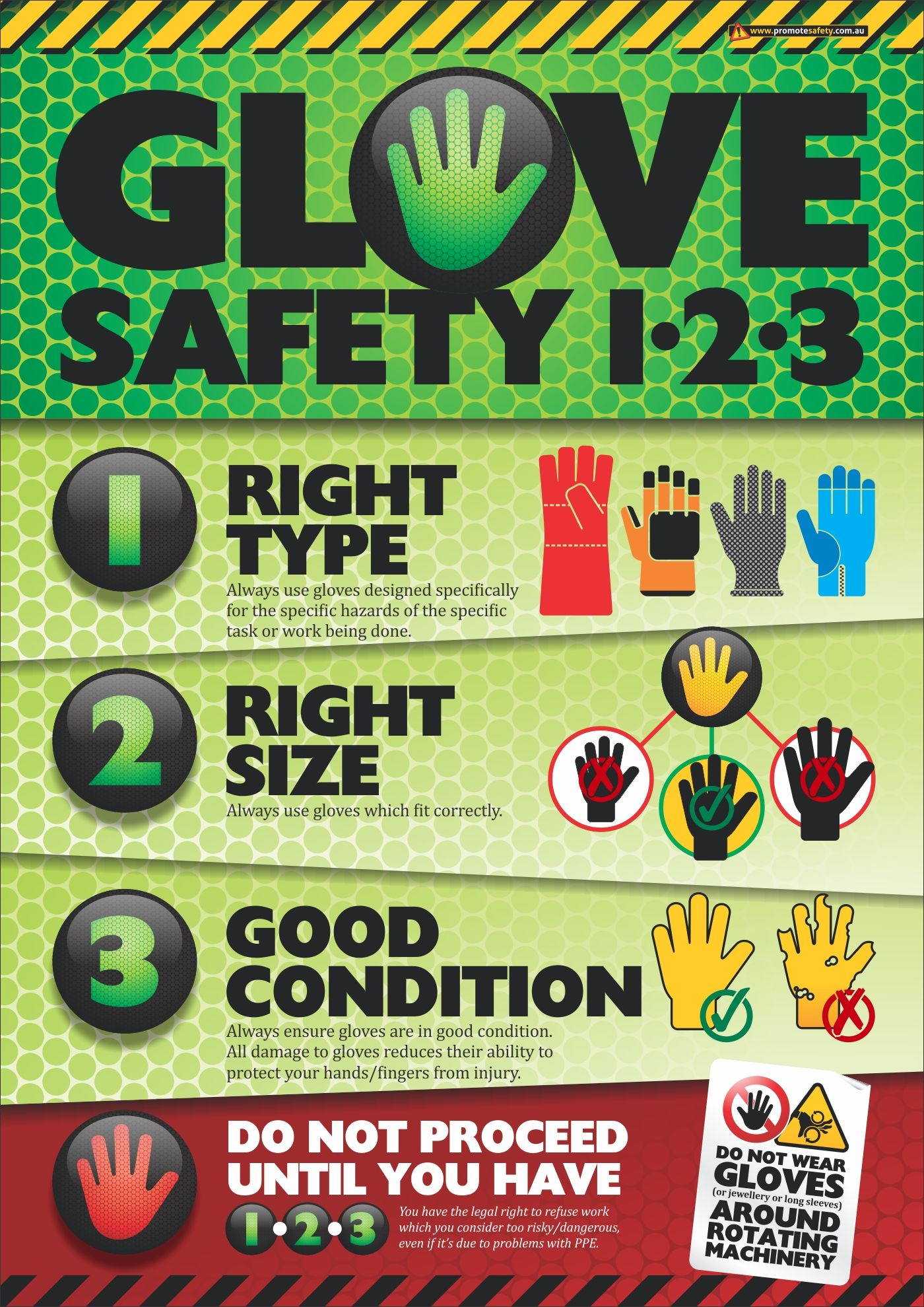This safety poster reminds workers to do the glove safety