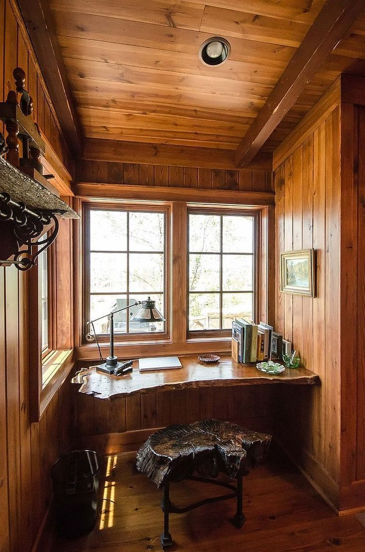 Small Rustic Home Office With Live Edge Work Desk And Chair