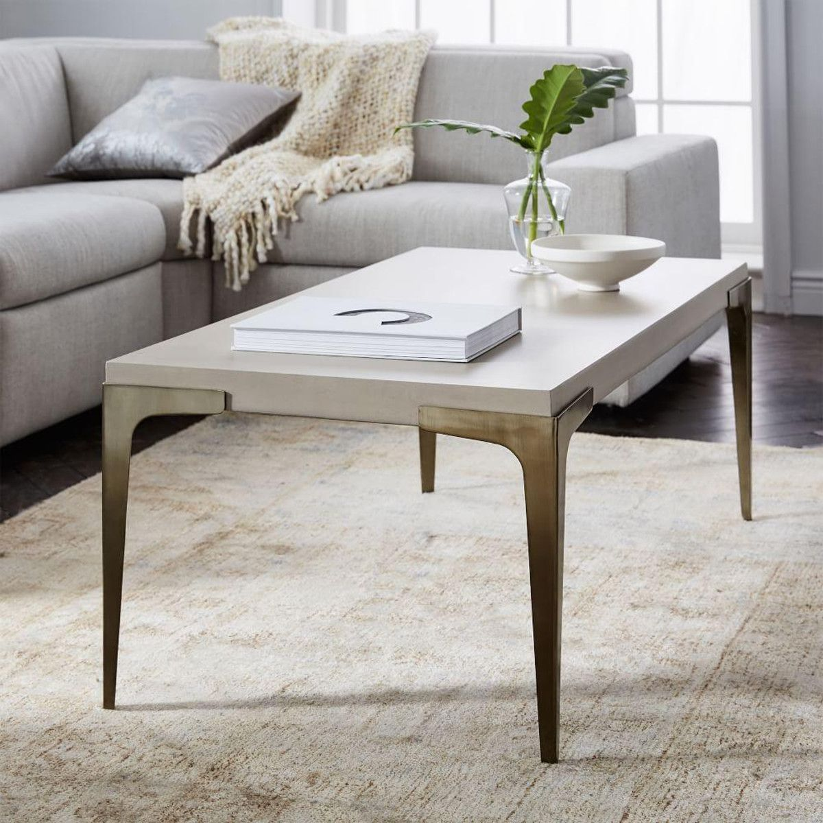 Brass Concrete Coffee Table Concrete coffee table Concrete and