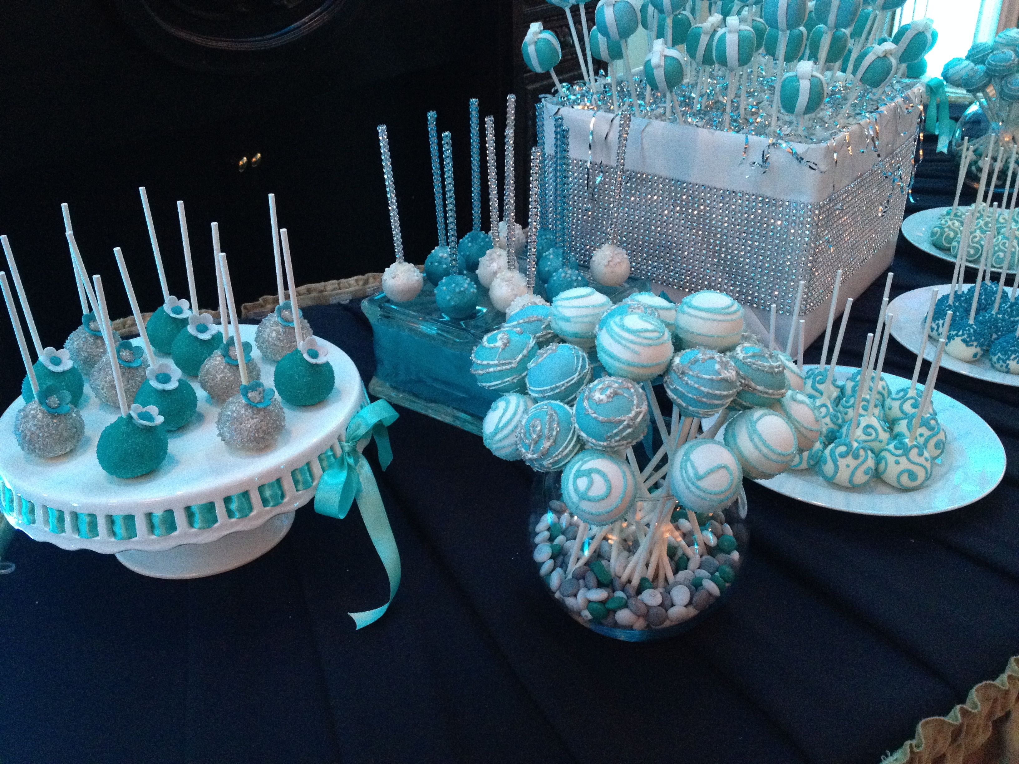 Cake Pop Dessert Table Teal Aqua Blue Silver Tiffany Box Bling Blue Cake Pops Cake Pops Wedding Cake Table