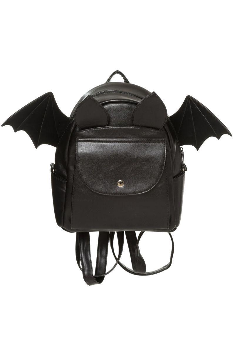 Banned Gothic Bat Rucksack, Waverley Backpack, Leather Look Bat Wing  Shoulder Bag 44bb976845