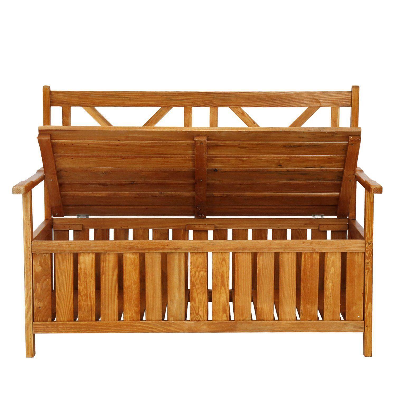 Terrific Armpro Weather Resistance Outdoor Patio Storage Bench Wooden Dailytribune Chair Design For Home Dailytribuneorg
