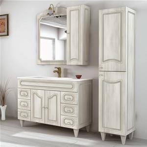 Mobile bagno con specchio applique colonna e pensile stile