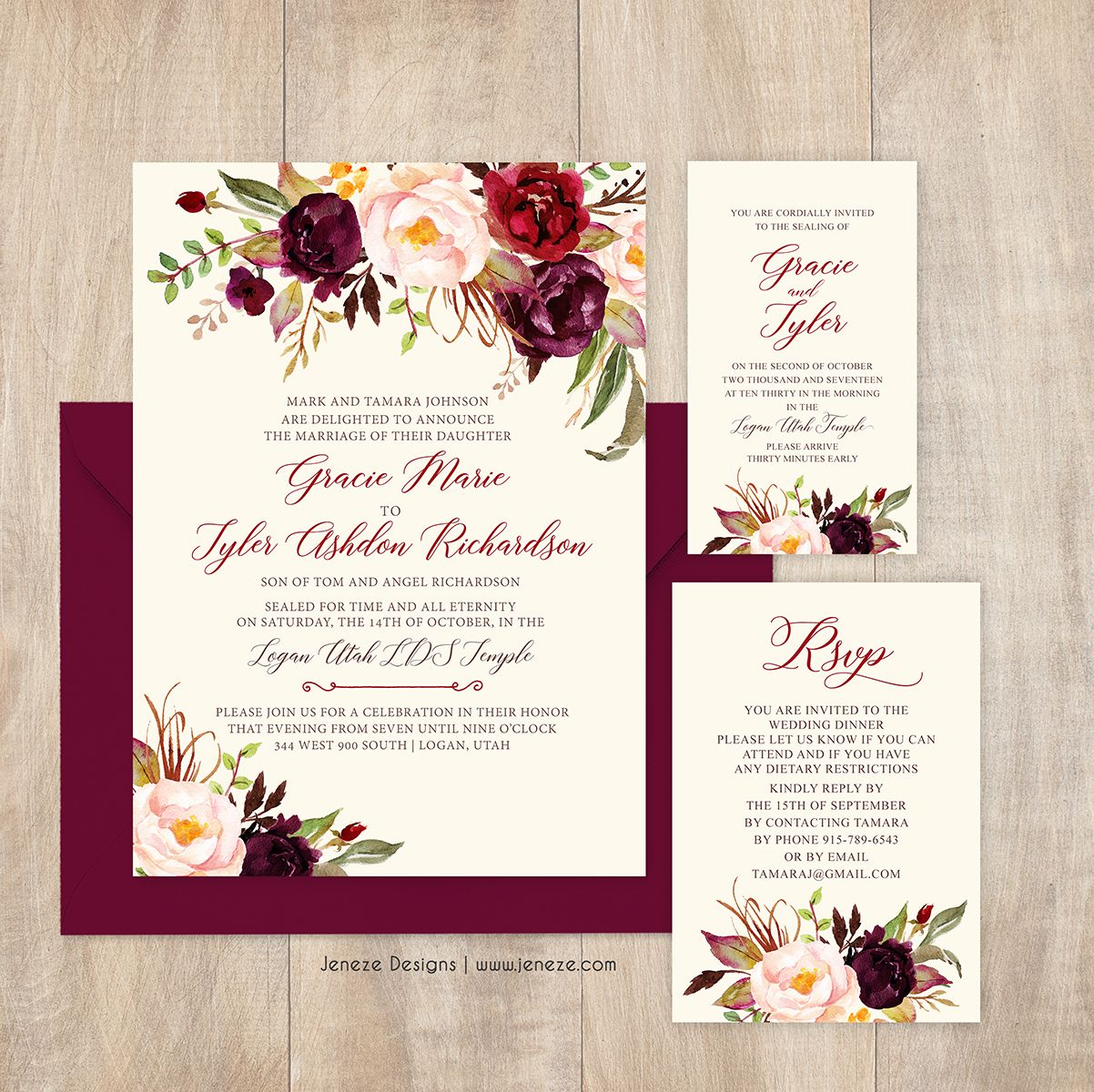 Small Ceremony Big Reception Invitations: Burgundy Floral Wedding Invitations. Pretty Flowers In Red