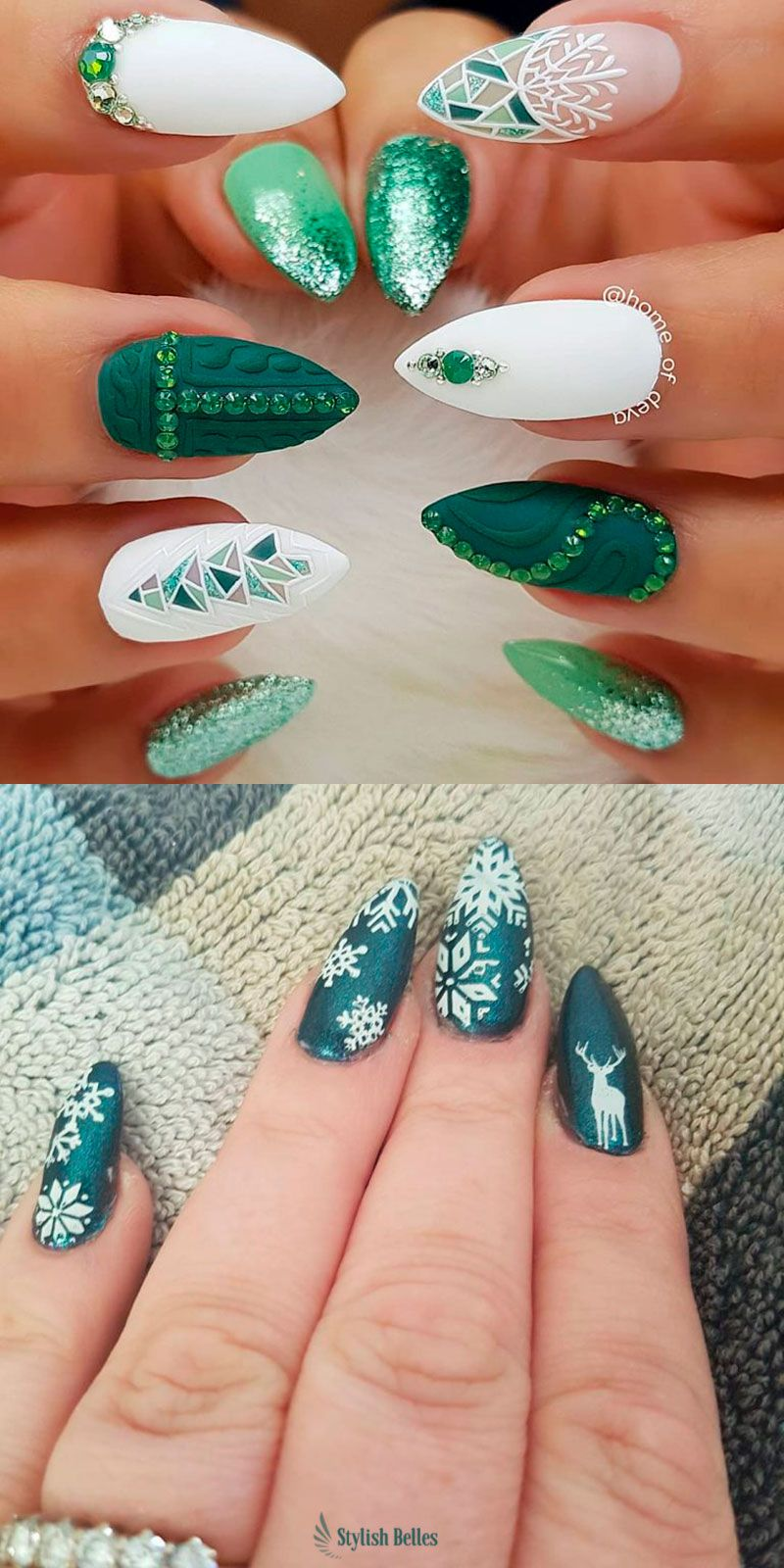 Amazing snowflake green Christmas makeup ideas