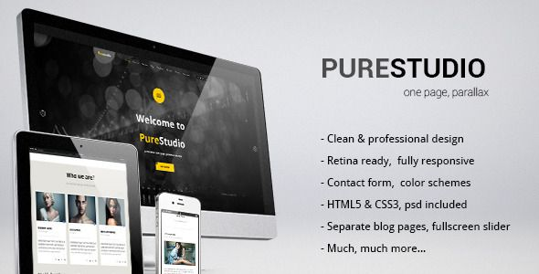 PURESTUDIO - HTML5, One Page Parallax Template | Template and ...