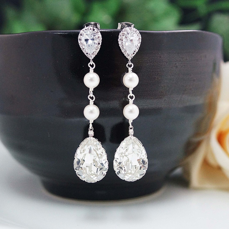 Wedding Bridal Jewelry Bridal Earrings Bridesmaid Earrings Cubic zirconia earrings with Swarovski Crystal and Pearls Tear drops (E-B-0007) by earringsnation on Etsy https://www.etsy.com/listing/159206980/wedding-bridal-jewelry-bridal-earrings