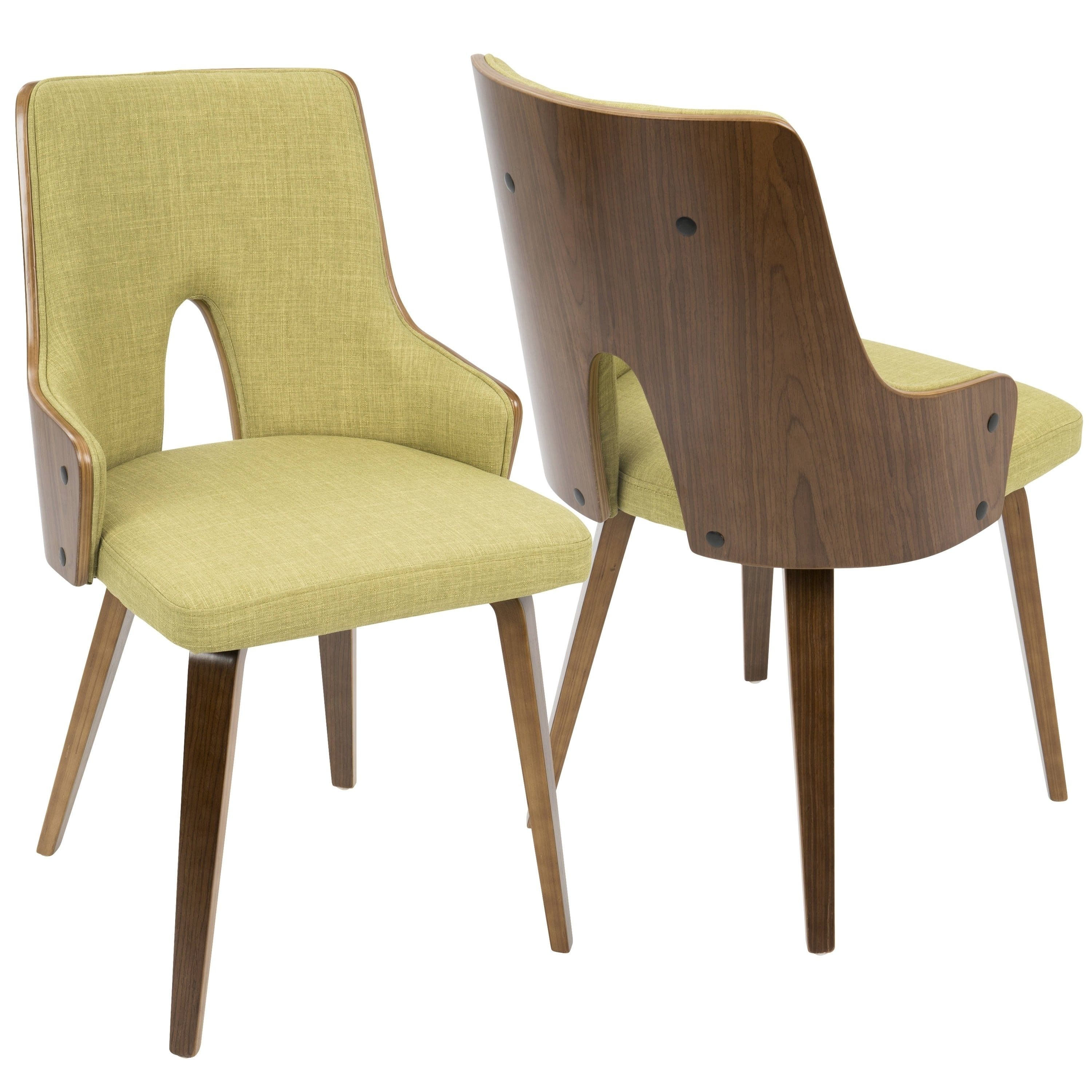 Lumisource stella mid century modern padded dining accent chair set of 2