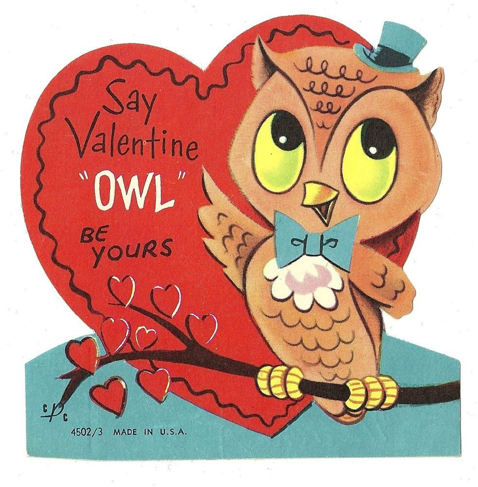 Cute Little Hoot Owl Says Owl Be Yours Vintage Valentine