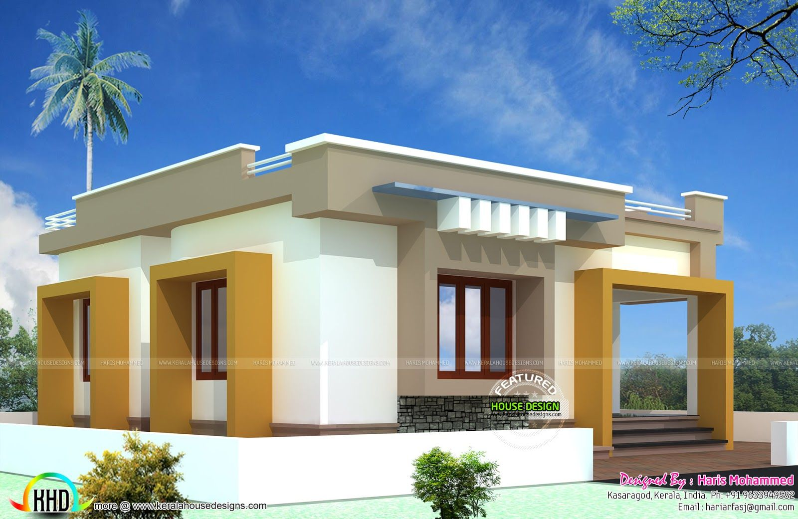 a beautiful 1 000 sq ft house built on a small bud budget home design u20b910 lakhs budget smallbudget single floor house in an area of 812 square  feet by Haris Mohammed, Kasaragod, Kerala.