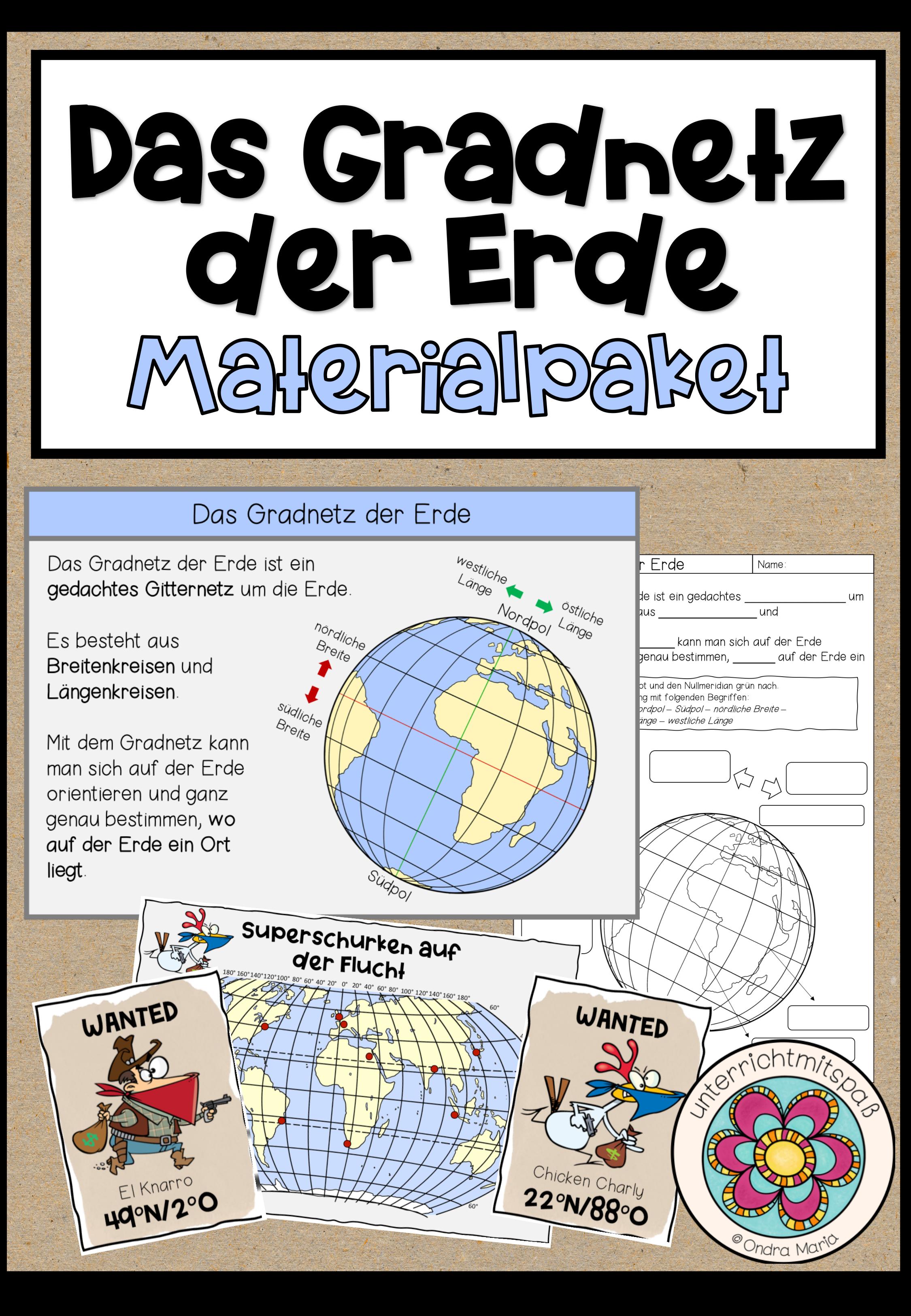 Das Gradnetz der Erde   Materialpaket Wissenskartei ...