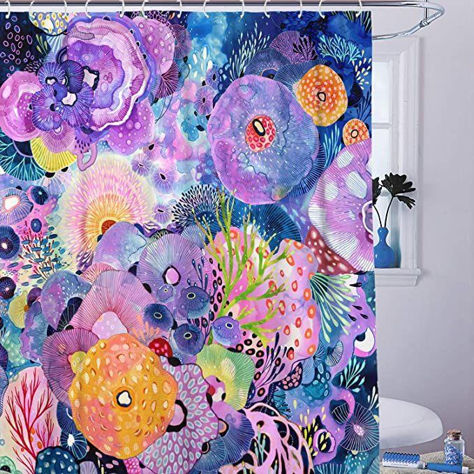Kanuyee Jellyfish Shower Curtain Ocean Tropical Fish Shower